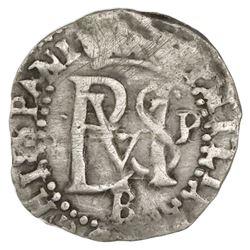 Potosi, Bolivia, cob 1/2 real, Philip II, assayer B below, mintmark P to right of monogram (2nd-peri