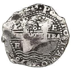 Potosi, Bolivia, cob 8 reales, 1653E, dot-PH-dot at top, ex-Jones (Plate Coin).