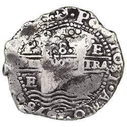 Potosi, Bolivia, cob 8 reales, 1653E, dot-PH-dot at top, ex-Jones (Plate Coin).