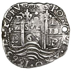 Potosi, Bolivia, cob 8 reales Royal (galano), 1663E, rare, ex-Jones.