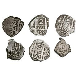 Lot of six Potosi, Bolivia, cob 2R (four) and 1R (two) of Philip V through Charles III.