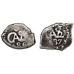 Lot of two Potosi, Bolivia, cob 1/2R of Charles II: 1686, 1687.