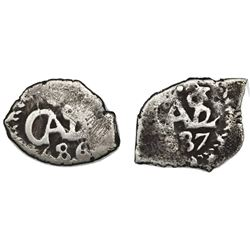 Lot of two Potosi, Bolivia, cob 1/2R of Charles II: 1686, 1687.