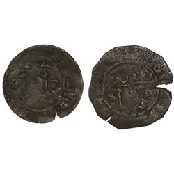 Lot of two Santo Domingo, Dominican Republic, copper 4 maravedis, Charles-Joanna, assayer F to left,