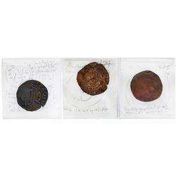 Lot of three Santo Domingo, Dominican Republic, copper 4 maravedis, Charles-Joanna, assayer F or oF,