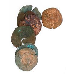 Lot of seven Santo Domingo, Dominican Republic, copper 4 maravedis, Charles-Joanna, assayer F or oF
