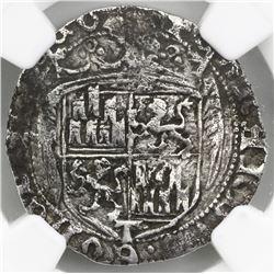 Toledo, Spain, 1 real, Ferdinand-Isabel, pre-1497 design, mintmark T at bottom on obverse, o-o flank