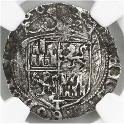 Toledo, Spain, 1 real, Ferdinand-Isabel, pre-1497 design, mintmark T at bottom on obverse, o-o flank