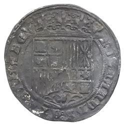 Burgos, Spain, 1 real, Ferdinand-Isabel, mintmark B below yoke and arrows, dog head and cross-potent