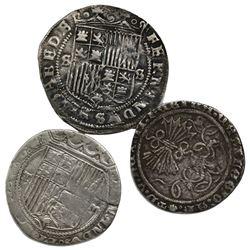 Lot of three Spain 1R of Ferdinand-Isabel, mints of Burgos, Seville and Toledo.