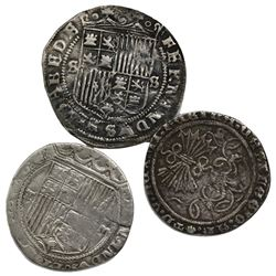 Lot of three Spain 1R of Ferdinand-Isabel, mints of Burgos, Seville and Toledo.