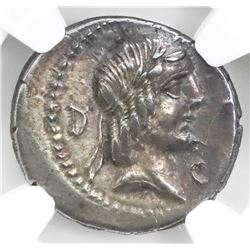 Roman Republic, AR denarius, L.Calpurnius Piso Frugi, ca. 90 BC, Rome mint, NGC AU (no numeric grade