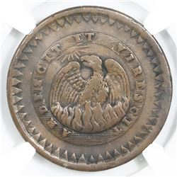 Buenos Aires, Argentina, 20 decimos, 1831, NGC VF details / reverse damage, finest and only example