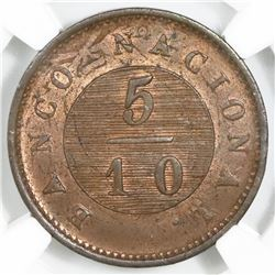 Buenos Aires, Argentina, copper 5/10 real, 1827, struck over a 1 decimo of 1822, NGC MS 64 RB, ex-O'