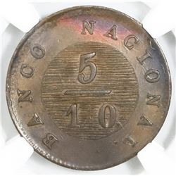 Buenos Aires, Argentina, copper 5/10 real, 1828, struck over a 1 decimo of 1822-23, NGC UNC details