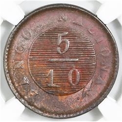 Buenos Aires, Argentina, copper 5/10 real, 1831, NGC MS 61 BN, ex-O'Brien.