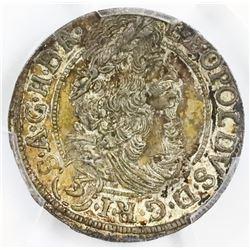Austria, 3 kreuzer, Leopold I, 1701, Hall mint, PCGS AU58.