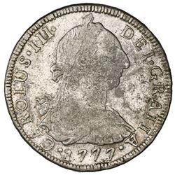 Potosi, Bolivia, bust 8 reales, Charles III, 1777PR.