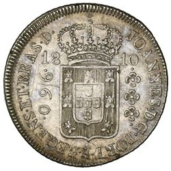 Brazil (Rio mint), 960 reis, Joao Prince Regent, 1810-R, struck over a Spanish colonial bust 8 reale