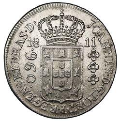Brazil (Bahia mint), 960 reis, Joao Prince Regent, 1811-B, struck over a Spanish colonial bust 8 rea