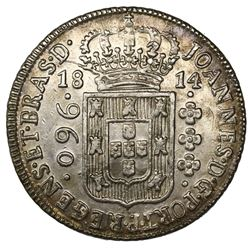 Brazil (Bahia mint), 960 reis, Joao Prince Regent, 1814-B, struck over a Lima, Peru, bust 8 reales.