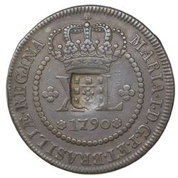 Brazil, 80 reis, shield countermark (1809, Joao Prince Regent) on a copper XL reis of 1790, Maria I.