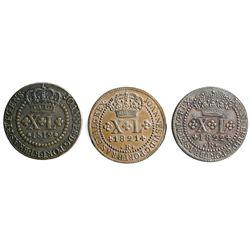 Lot of three Brazil (Rio mint), copper XL reis of Joao Prince Regent / Joao VI: 1812-R, 1821-R, 1822