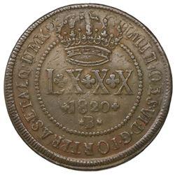 Brazil (Bahia mint), copper LXXX reis, Joao VI, 1820-B, struck over an 80 reis-countermarked 40 reis