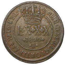 Brazil (Bahia mint), copper LXXX reis, Joao VI, 1820-B, struck over an 80 reis-countermarked 40 reis