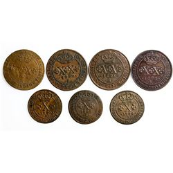 Lot of seven Brazil (Rio mint) copper coins of Joao VI: XX reis, 1821-R (two), 1822-R (two); X reis,