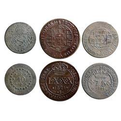 Mixed lot of three Brazil copper coins: Bahia mint, LXXX reis, Joao VI, 1821-B; Minas mint, 75 reis,