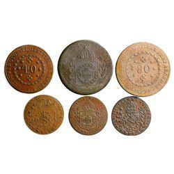 Lot of six Brazil (Rio mint) copper coins of Pedro I: 80 reis, 1827-R, 1830-R; 40 reis, 1831-R; 20 r