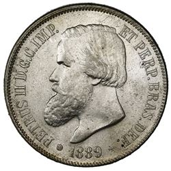 Brazil, 2000 reis, Pedro II, 1889.