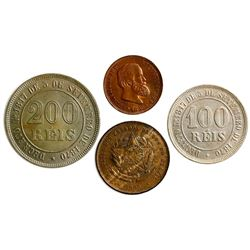Lot of four Brazilian coins: copper-nickel 200 reis, 1876; copper-nickel 100 reis, 1882; bronze 20 r