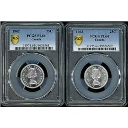 Lot of two Canada 25 cents graded PCGS PL64: 1962, 1963.
