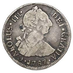 Santiago, Chile, bust 2 reales, Charles III, 1787DA.