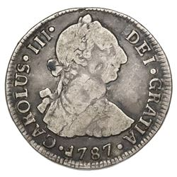 Santiago, Chile, bust 2 reales, Charles III, 1787DA.