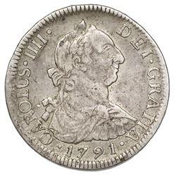 Santiago, Chile, bust 2 reales, Charles IV (bust of Charles III, ordinal IIII), 1791DA.