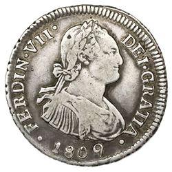 Santiago, Chile, bust 2 reales, Ferdinand VII (bust of Charles IV), 1809FJ.