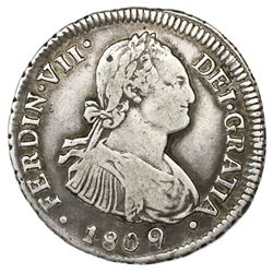 Santiago, Chile, bust 2 reales, Ferdinand VII (bust of Charles IV), 1809FJ.