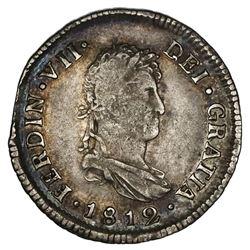 Santiago, Chile, bust 2 reales, Ferdinand VII, 1812FJ.