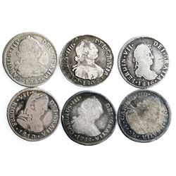 Lot of six Santiago, Chile, bust 2 reales, Charles III through Ferdinand VII: 1787DA, 1788DA, 1801AJ