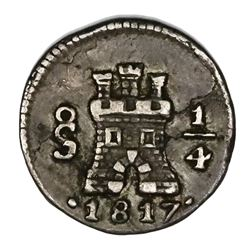Santiago, Chile, 1/4 real, 1817.
