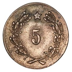 "Chile, copper mining token, value ""5,"" San Pedro A.C.S., no date (mid- to late 1800s)."