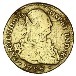 Popayan, Colombia, gold bust 2 escudos, Charles IV, 1796JF.