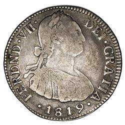 Bogota, Colombia, bust 2 reales, Ferdinand VII (bust of Charles IV), 1819FJ.