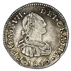Popayan, Colombia, bust 1/2 real, Ferdinand VII (bust of Charles IV), 1810JF.