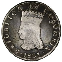 Bogota (Cundinamarca), Colombia, 8 reales, 1821JF, with Ba.