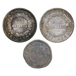 Lot of three Colombia coins: 2 reales, 1852; 2 decimos, 1857; 1 real, 1830.