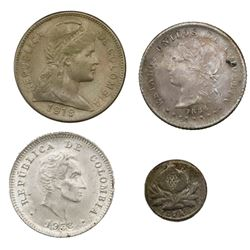 Lot of four Colombia coins: Popayan, silver 1/4 decimo, 1874; Bogota, silver 10 centavos, 1884; copp